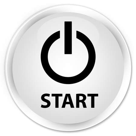 turn up: Start (power icon) white glossy round button