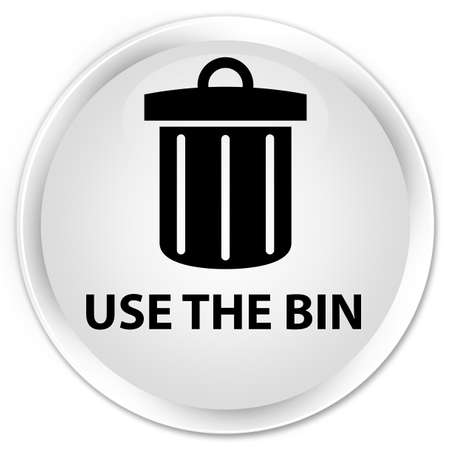 use: Use the bin (trash icon) white glossy round button Stock Photo