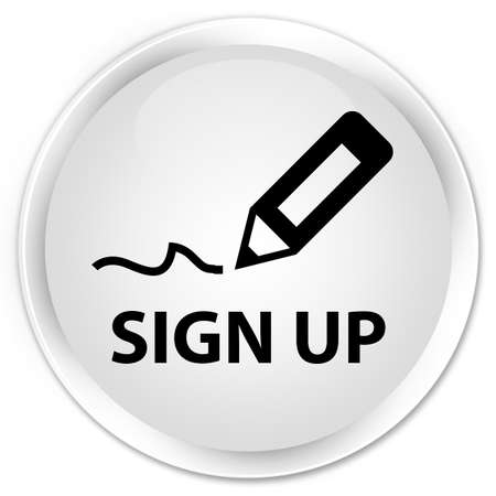 sign up: Sign up white glossy round button Stock Photo