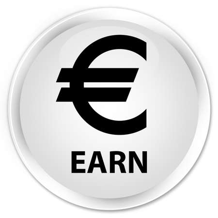 euro sign: Earn (euro sign) white glossy round button