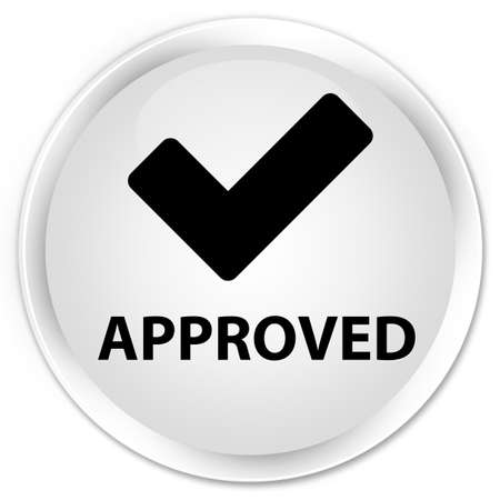validate: Approved (validate icon) white glossy round button Stock Photo