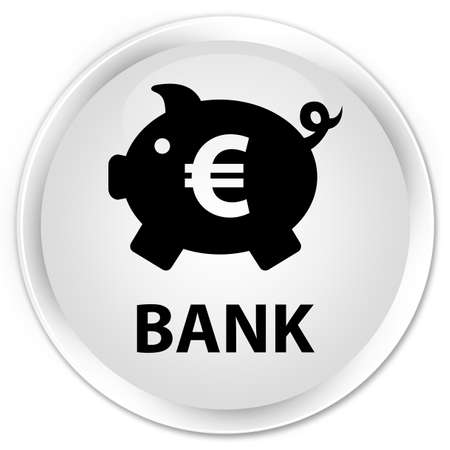 economical: Bank (piggy box euro sign) white glossy round button