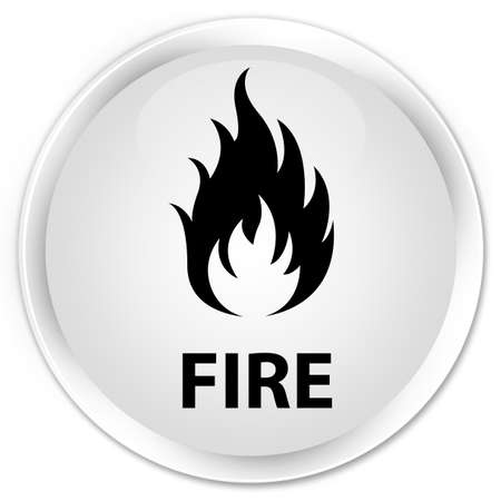 ominous: Fire white glossy round button Stock Photo