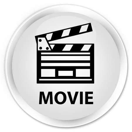 Movie (cinema clip icon) white glossy round button