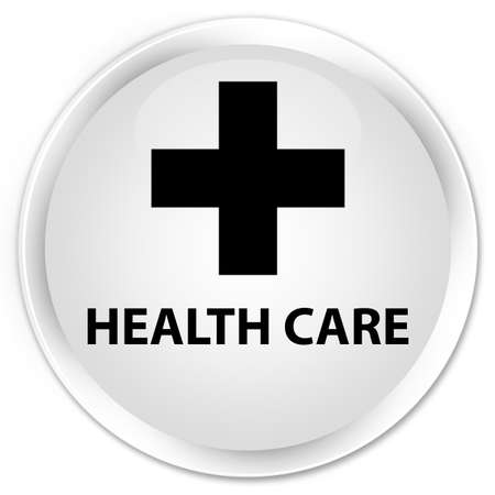 assist: Health care (plus sign) white glossy round button Stock Photo