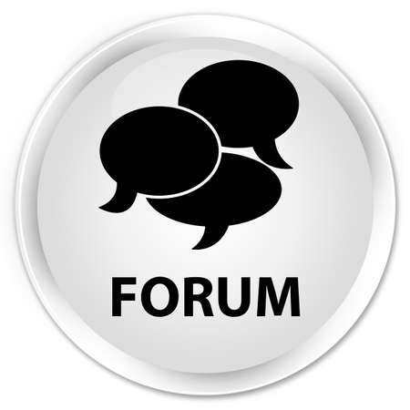 comments: Forum (comments icon) white glossy round button Stock Photo