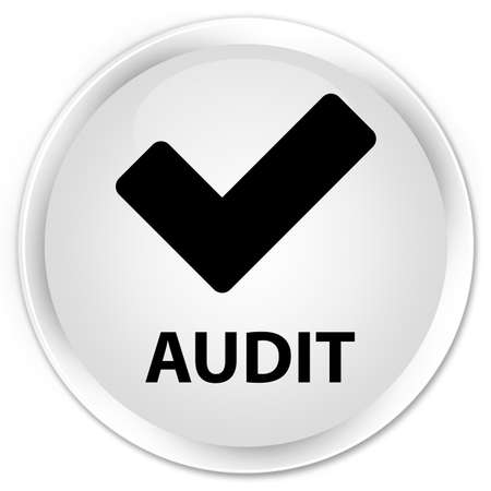 validate: Audit (validate icon) white glossy round button