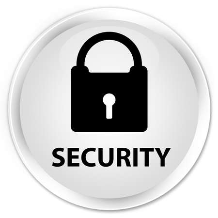 insecure: Security (padlock icon) white glossy round button Stock Photo
