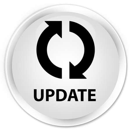 update: Update white glossy round button Stock Photo