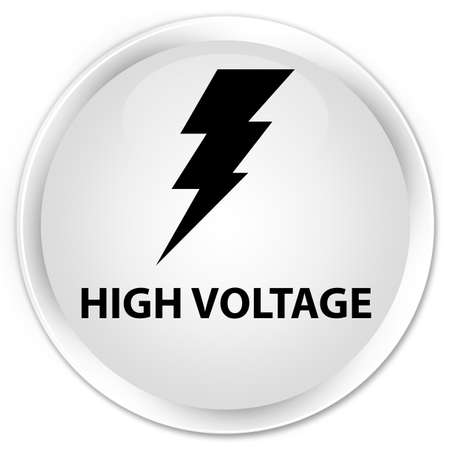 high voltage symbol: High voltage (electricity icon) white glossy round button
