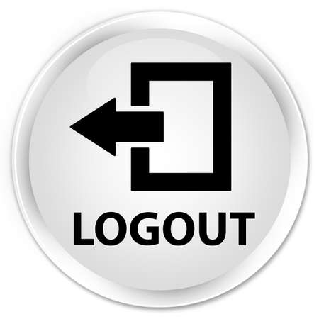 end user: Logout white glossy round button Stock Photo