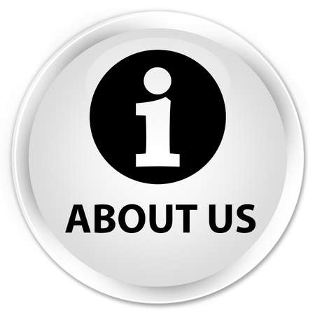 about us: About us white glossy round button