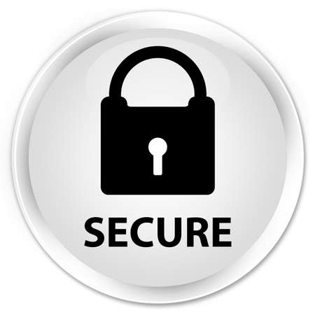 secure: Secure (padlock icon) white glossy round button