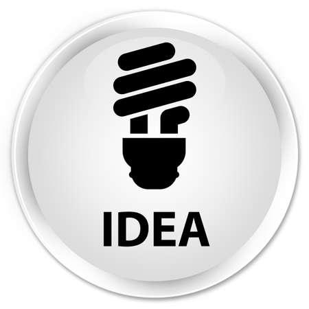 incandescence: Idea (bulb icon) white glossy round button Stock Photo