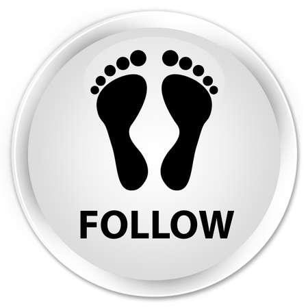 follow icon: Follow (footprint icon) white glossy round button