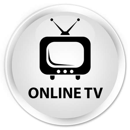 tv station: Online tv white glossy round button Stock Photo