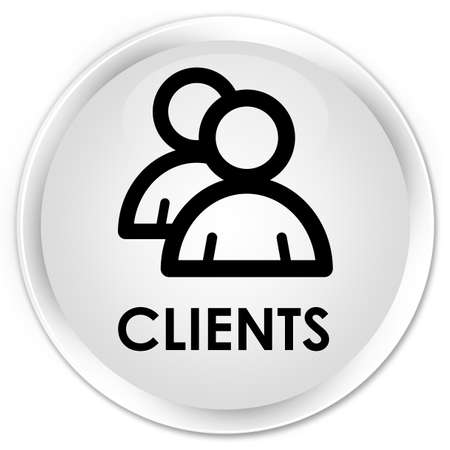 job satisfaction: Clients (group icon) white glossy round button