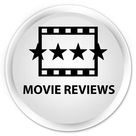 ratings: Movie reviews white glossy round button Stock Photo