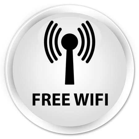 wlan: Free wifi (wlan network) white glossy round button