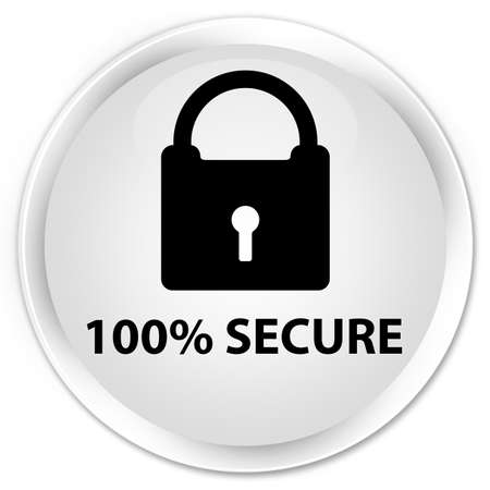 safeguard: 100% secure white glossy round button