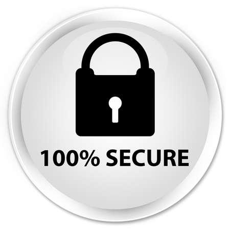 encrypt: 100% secure white glossy round button