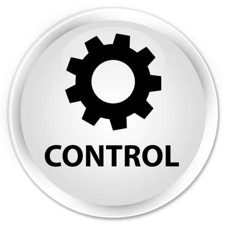 Control (instellingenpictogram) wit glanzend ronde knop Stockfoto