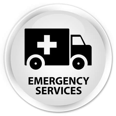 emergency services: Emergency services white glossy round button Stock Photo
