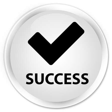 validate: Success (validate icon) white glossy round button Stock Photo