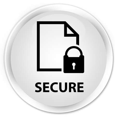 insecure: Secure (document page padlock icon) white glossy round button Stock Photo