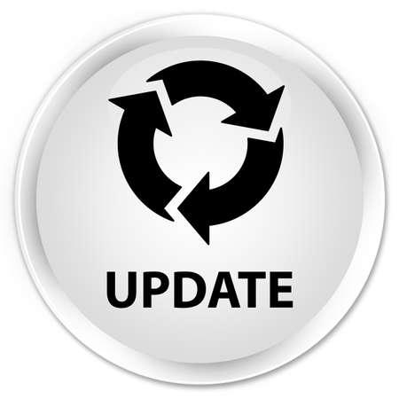 refresh button: Update (refresh icon) white glossy round button Stock Photo