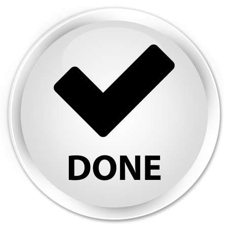 done: Done (validate icon) white glossy round button Stock Photo