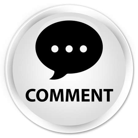 comment: Comment (conversation icon) white glossy round button Stock Photo