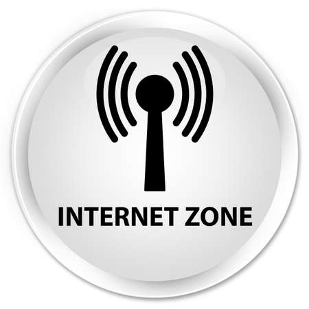 wlan: Internet zone (wlan network) white glossy round button Stock Photo