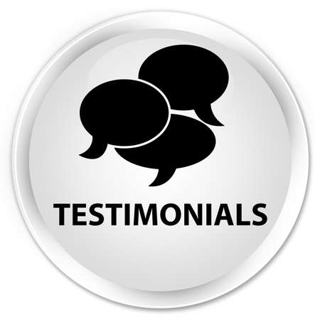 authenticate: Testimonials (comments icon) white glossy round button