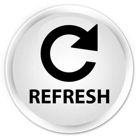 rotate: Refresh (rotate arrow icon) white glossy round button Stock Photo