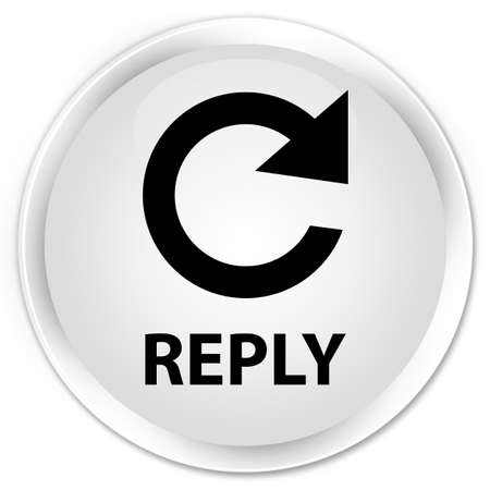 rotate: Reply (rotate arrow icon) white glossy round button Stock Photo