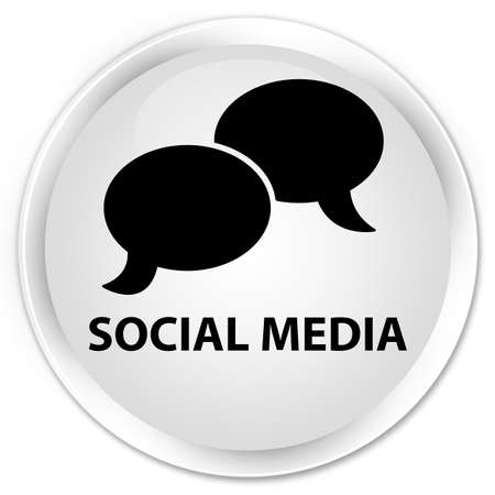 chat bubble icon: Social media (chat bubble icon) white glossy round button