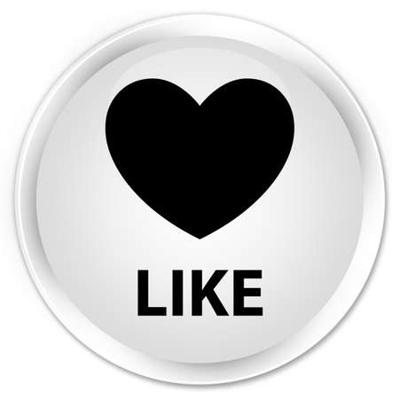 valentin's: Like (heart icon) white glossy round button