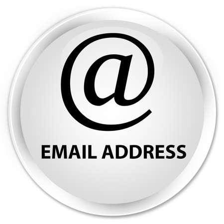 email address: Email address white glossy round button