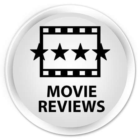 reviews: Movie reviews white glossy round button Stock Photo