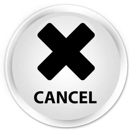 terminate: Cancel white glossy round button