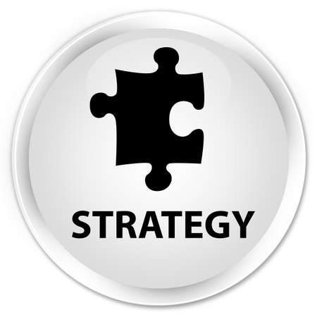 plugin: Strategy (puzzle icon) white glossy round button Stock Photo