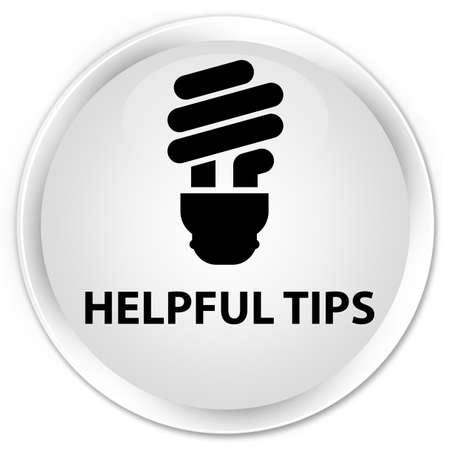 helpful: Helpful tips (bulb icon) white glossy round button Stock Photo