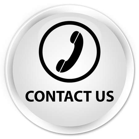 contact us phone: Contact us (phone icon round border) white glossy round button