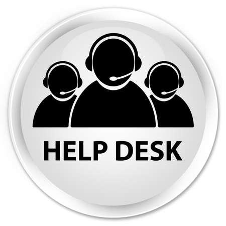 help desk: Help desk (customer care team icon) white glossy round button