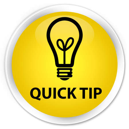 quick: Quick tip (bulb icon) yellow glossy round button Stock Photo