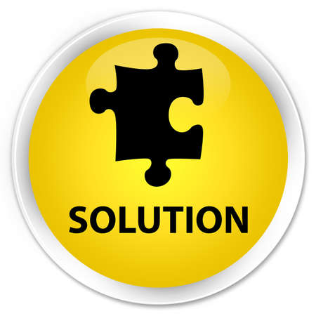 plugin: Solution (puzzle icon) yellow glossy round button Stock Photo