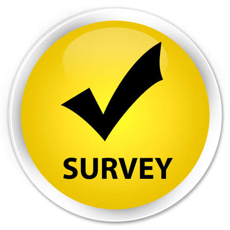 validate: Survey (validate icon) yellow glossy round button Stock Photo