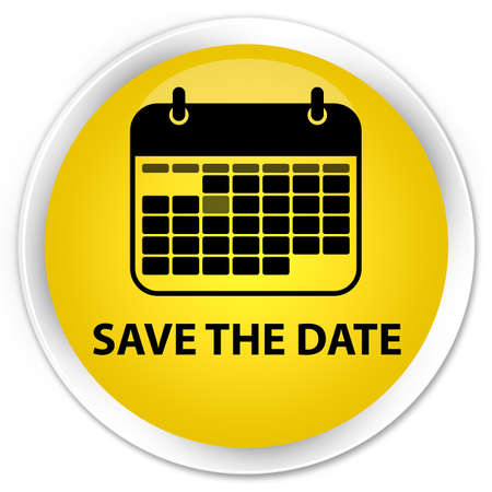 event planner: Save the date yellow glossy round button