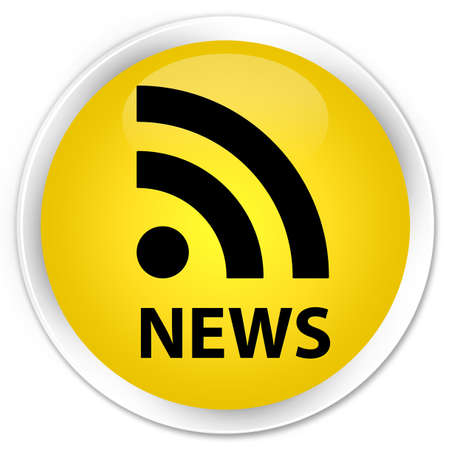 news current events: News (RSS icon) yellow glossy round button Stock Photo